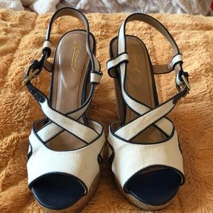 Size 10 cream and navy canvas wedges.
